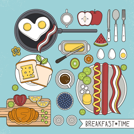 corn flakes: top view of nutritious breakfast set in flat design Illustration