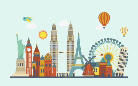 world famous attractions in flat design style Çizim