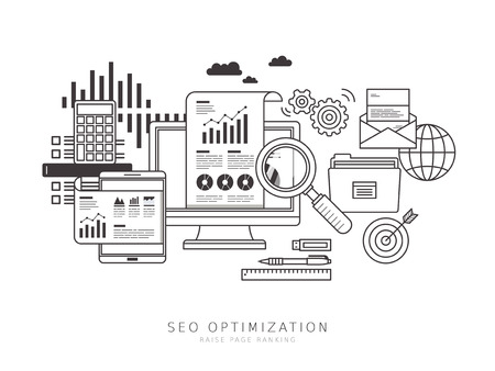 at service: SEO optimization concept in thin line flat design style Illustration