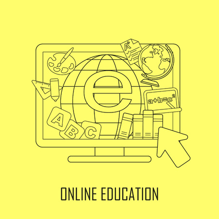 online education: online education concept: learning resources jumping out from computer in line style