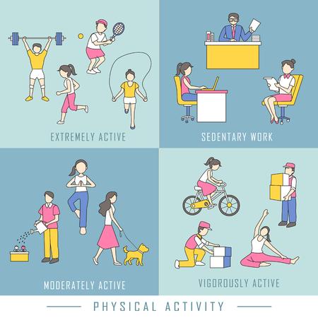 actividad fisica: concepto de actividad física en el estilo de diseño plano