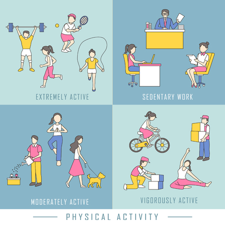 physical activity concept in flat design style