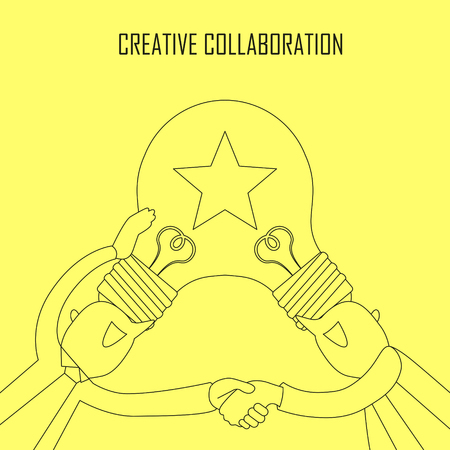 collaboration: creative collaboration concept: idea bulb on two businessmans head in line style