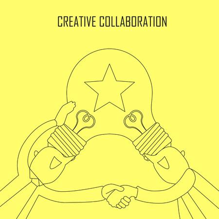 creative concept: creative collaboration concept: idea bulb on two businessmans head in line style