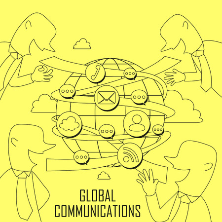 globális kommunikációs: global communication concept in thin line style Illusztráció