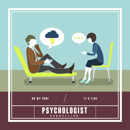 psychoanalysis: mental disorder counseling concept in flat design