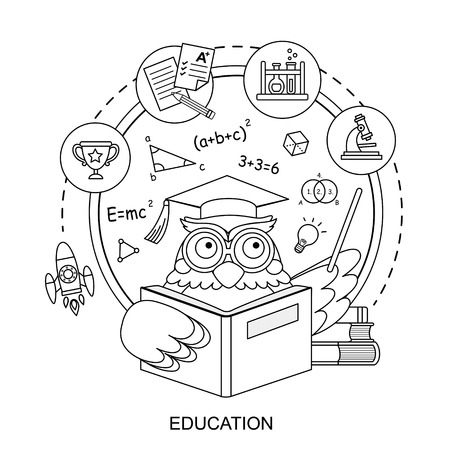 laboratory animal: education concept with an owl in line style