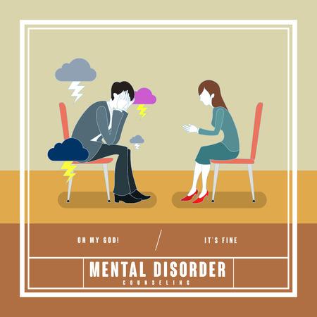 educativo: mentales concepto consejería trastorno en el diseño plano Vectores