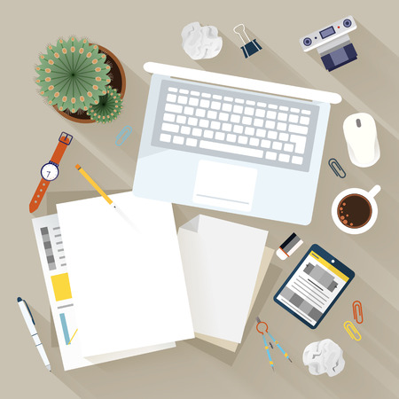 Office items: top view of modern workplace in flat design