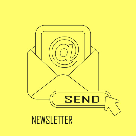 periodical: newsletter concept: ready to send an e-mail in line style Illustration