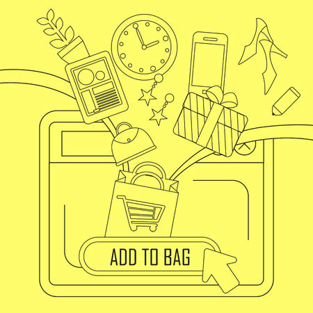 checkout line: online shopping concept: add products to bag in thin line style