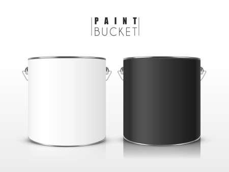 paint: blank paint buckets set isolated on white background Illustration