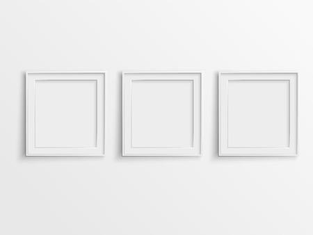 空白のフォト フレーム、壁に掛かっています。  イラスト・ベクター素材