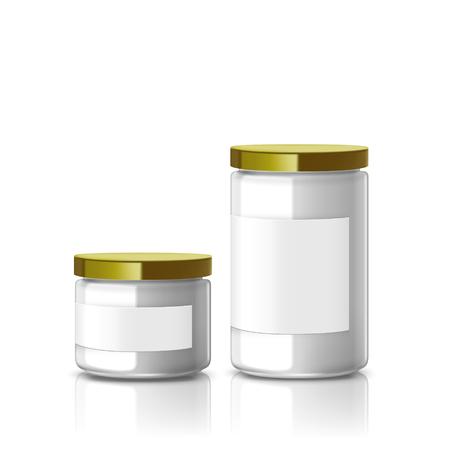 lege glazen pot set met etiket op een witte achtergrond