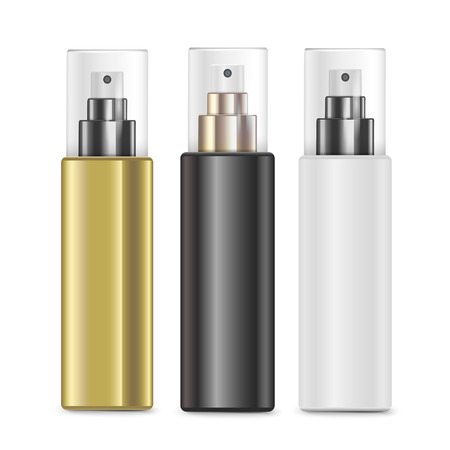cosmetics collection: luxury cosmetic spray bottles set isolated on white background