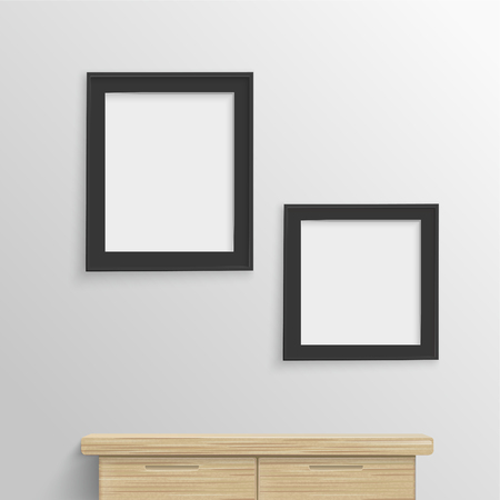 blank photo: blank photo frames hanging on the wall