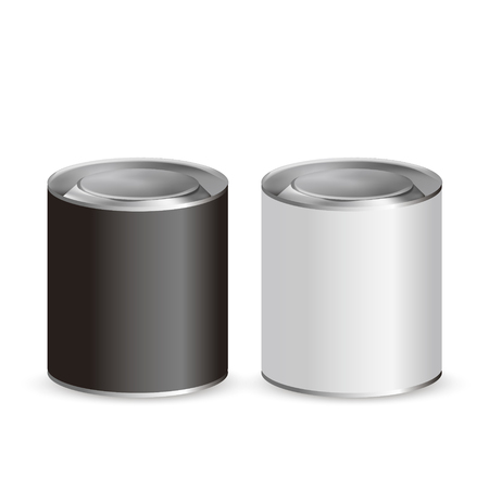 tin cans: blank tin cans isolated on white background