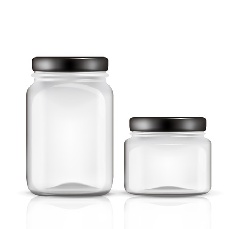 glass jars set isolated on white background Çizim