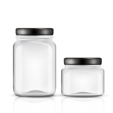 frasco: tarros de cristal conjunto aislado sobre fondo blanco Vectores