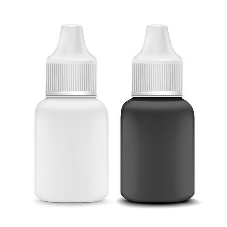 eye or ear drops bottles set isolated on white background