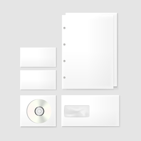 stationery set: corporate stationery set isolated on grey background Illustration