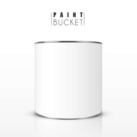 on white background: blank paint bucket isolated on white background