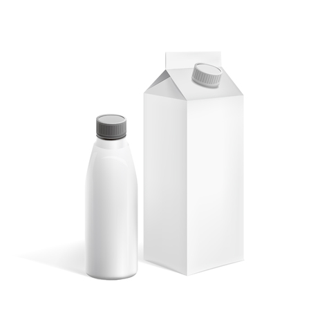milk containers: milk containers set isolated on white background