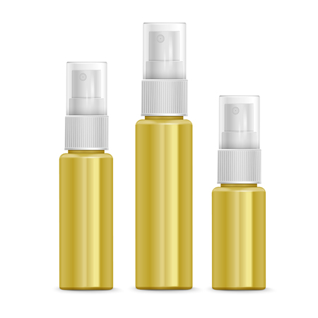cosmetic product: cosmetic spray bottles set isolated on white background