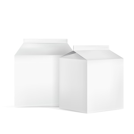 cartons: milk cartons set isolated on white background