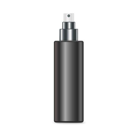pulverizador: cosmética botella de spray negro aislado en fondo blanco Vectores