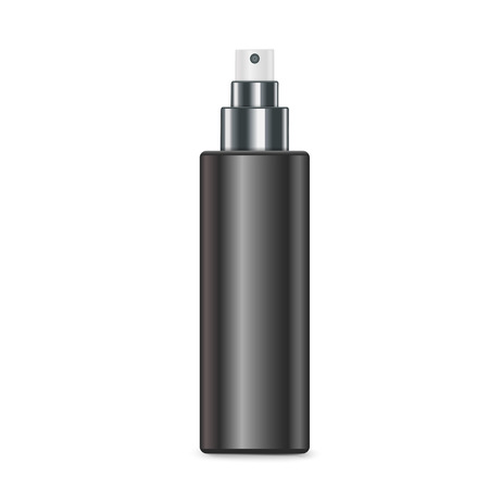 dispenser: cosmetic black spray bottle isolated on white background