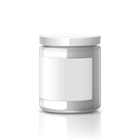 glass jar: blank glass jar with label isolated on white background