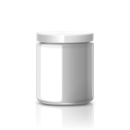 lege glazen pot met wit aluminium deksel op een witte achtergrond