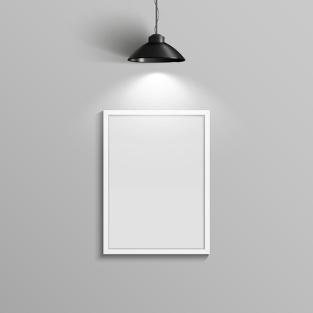 blank canvas: elegant blank canvas with illumination over grey wall