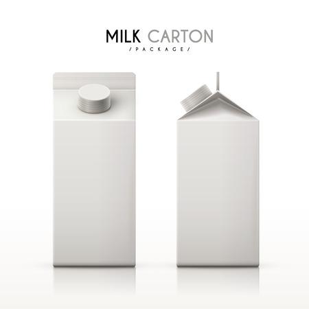 우유 팩에 격리 된 흰색 배경을 설정합니다