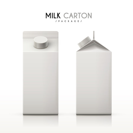 milk cartons set isolated on white background