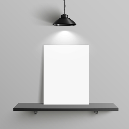elegant blank canvas with illumination placed on shelf over grey wall Иллюстрация