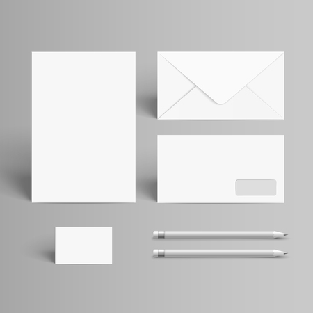 brands: business stationery set isolated on grey background Illustration