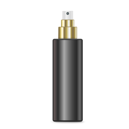 disinfectant: cosmetic black spray bottle isolated on white background