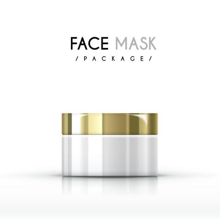 crème gezichtsmasker pakket op een witte achtergrond Stock Illustratie