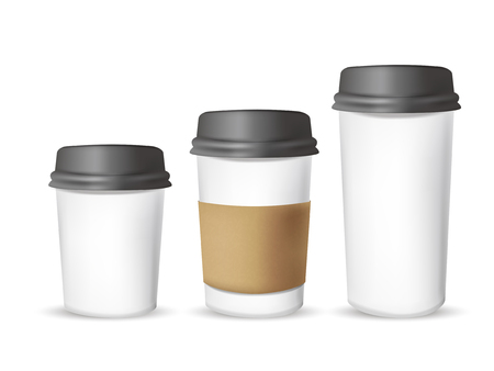 takeout coffee cup templates over white background