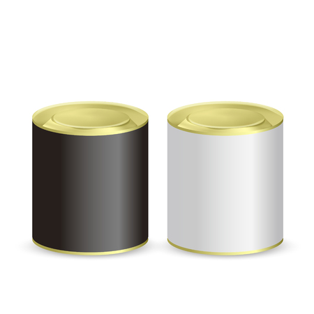 unbranded: blank tin cans isolated on white background