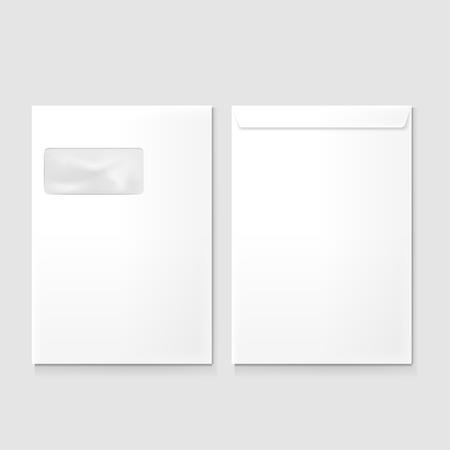 회색 배경에 고립 창 빈 봉투 일러스트