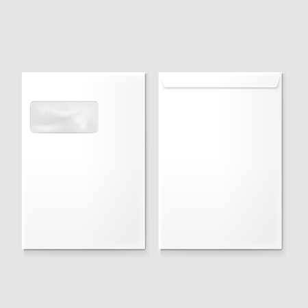 letter envelope: blank envelopes with window isolated on grey background