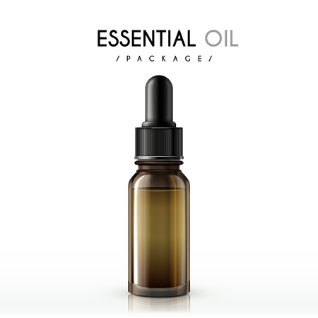 etherische olie pakket geïsoleerd op een witte achtergrond Stock Illustratie