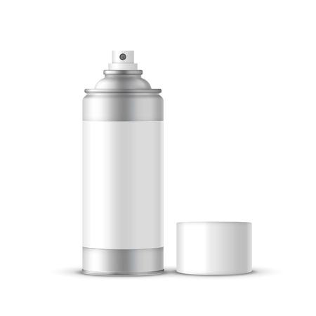흰 배경에 고립 된 레이블로 실버 스프레이 병