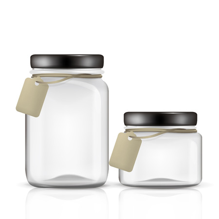 glass jars set with tag isolated on white background