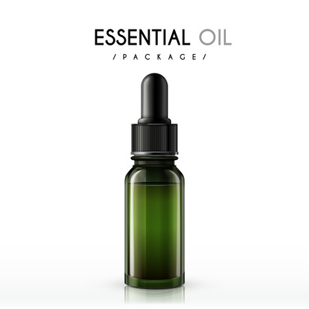 essential: essential oil package isolated on white background Illustration
