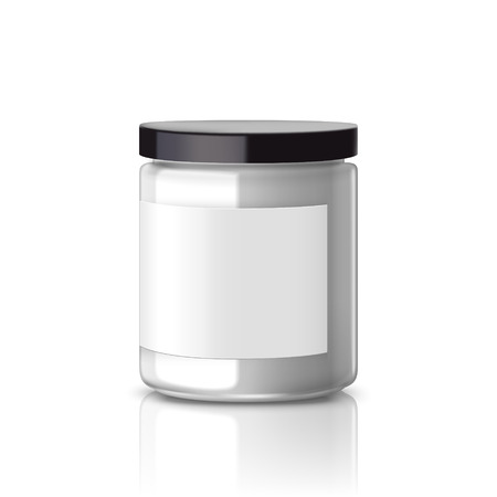 white blank: blank glass jar with label isolated on white background