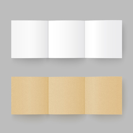 assign: tri-fold paper brochure isolated on grey background